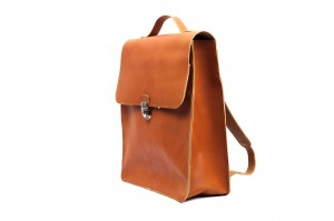 Leather backpack 'CUCKOO' brown grain leather (1)